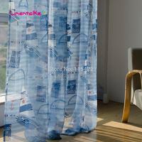 Cartoon boy sailboat blue curtain yarn kids window screening balcony for child cute finished tulle curtain