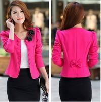 Blazer Feminino 2014 Autumn Fashion Blazer Women Coat Casacos Femininos Suit Jacket Casual Plus Size Black White Blazers Blaser
