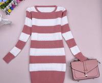 2014 autumn women's fashion medium-long stripe sweater slim sweater female