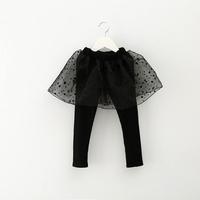 2014 autumn children's clothing baby girls dot organza knitted legging skirt