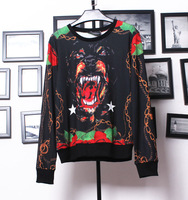 Free shipping 2014 newest arrival fashion loose animal and flower printing long-sleeve pullover t-shirt