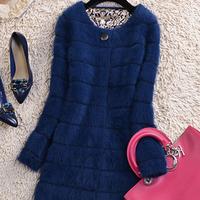 2014 medium-long marten velvet stripe sweater outerwear marten velvet overcoat female marten velvet sweater mink sweater