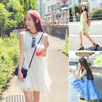 2014 one-piece dress gentlewomen fashion embroidery high waist sleeveless  female