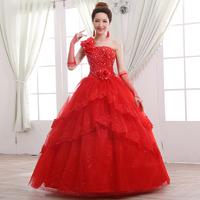 2014 latest dress designs bridal wedding veil allure wedding dress sweet princess one shoulder flower strap fluffy wedding dress