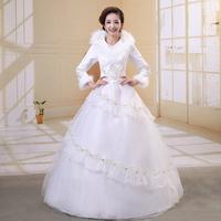 2014 latest dress designs wedding dress Winter wedding dress bride thermal longsleeve cotton fitted noble lace wedding dress Hot