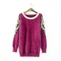 2014 Must Have Fashion Embroidery Sleeves Pullover Knitted Sweater, Highly Recommended Women's Beautiful Sweater