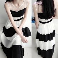 Bohemia sleeveless vest beach full dress female black and white stripe expansion bottom chiffon one-piece dress