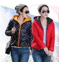 2014 Fashion Winter Jacket Women Hoodies Polka Dot Reversible Fashion Women Coat Double-sided  Winter Coat Vsa1502
