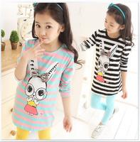 120cm to 160cm big girls base shirt stripe  long design children bottoming shitrs long-sleeve girls T-shirt 2014 autumn