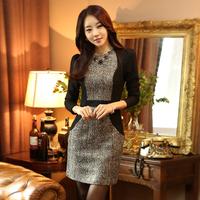 Brand 2014 autumn fashion elegant OL outfit patchwork slim bronzier long-sleeve dress basic one piece dress free shipping 7582