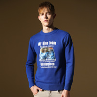 Male 100% cotton sweater slim o-neck print sweater autumn and winter men's clothing trend outerwear