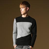 Localmode male sweater slim o-neck sweater color block decoration 100% cotton sweater casual outerwear