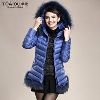 2014 winter female medium-long down coat fur collar women slim thickening outerwear