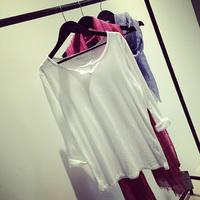 Fashion women's collar cotton white 100% basic tee
