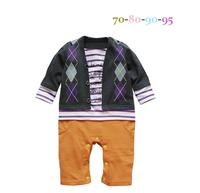 September new Autumn Boys Diamond Plaid Modeling Romper Baby clothing 4 pcs/lot #11233