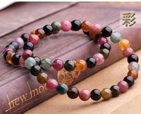 100% Natural Brazil tourmaline bracelet multicolour tourmaline bracelets Women Gift 6-6.5mm