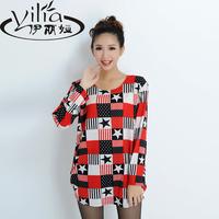2014 autumn one-piece dress long-sleeve set medium-long t-shirt thin outerwear plus size loose pullover