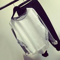 Fashion women's autumn new arrival colorant match sweatshirt gray