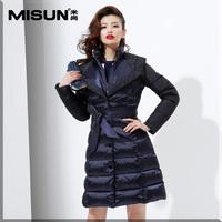 Misun 2014 trench with a hood color medium-long block women's down coat