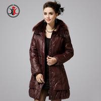 2014 medium-long detachable cap thickening slim fur collar down coat female