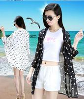 Air conditioning shirt long design stars chiffon cardigan three quarter sleeve anti-uv sun protection clothing women's thin