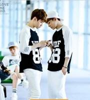 Exo wolf88 white black-and-white kris raglan sleeve 7 quarter sleeve t-shirt