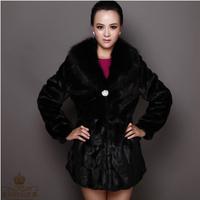Free shipping 2014 new Korean female winter rex rabbit fur coat faux fur long coat imitation fox fur coat