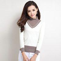 Vintage women's 2014 rhinestones slim long-sleeve pullover turtleneck sweater basic sweater