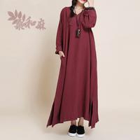 [ LYNETTE'S CHINOISERIE - Sang ] Women's national trend vintage fluid V-neck length long sleeve one-piece dress