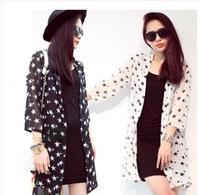 Cheap 2014 New women blouse Casual Women Sunscreen Cardigan Protection 3/4 Sleeve Chiffon Cardigan Coat Tops Free Shipping