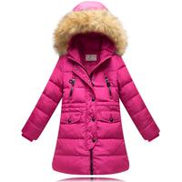 10- 16 years girls winter jacket 80% white duck down kids girl winter jacket medium-long thickening baby girls winter coat