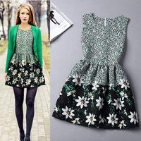 New 2014 summer vintage women clothing  dress ink print dress sleeveless tiny flowers women vest dress free shipping