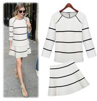Fashion Ladies 2014 brand o-neck long-sleeve large black and white stripe skirt set twinset, hoodies + skirt clothes set