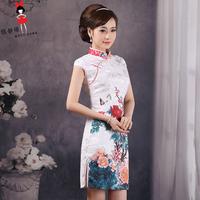 2014 saias femininas latest dress designs Elegant vintage cheongsam young girl qipao short one-piece dress party long cheap HOT
