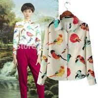 European fashion lady colorful bird print soft chiffon long sleeve slim shirt autumn