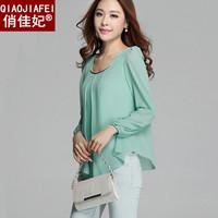 Plus size basic shirt female chiffon shirt female long-sleeve women's chiffon shirt free shipping