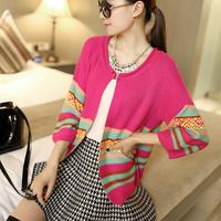 Spring and autumn sweater Women small cardigan stripe sweater outerwear female autumn thin design short cape