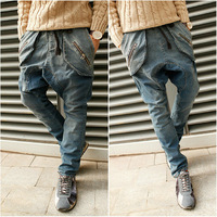 free shipping 2014 new drop crotch men skinny jeans middlelowlevel harem pants denim mens jeans