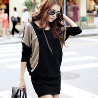 Autumn women's plus size loose batwing sleeve knitted long-sleeve dress slim hip basic skirt female
