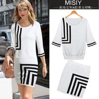 New brand fashion women's 2014 geometry embroidery pattern knitted sweater short skirt set,clothing set