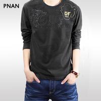 Pnan2014 autumn t-shirt male casual round neck T-shirt flock printing loose t shirt male plus size