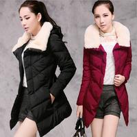 2014 winter women's slim medium-long fur collar casual cotton-padded hooded jacket coat female wadded jacket plus size M-XXXL