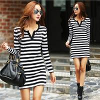 2014 autumn plus size dress  long-sleeve dress slim stripe v-neck T-shirt slim sexy one piece dress XM529