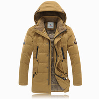 2014 Top Quality Brand Mens Down Jacket Winter Warm Coat 90% White Duck Long Thicken Outwear Hooded Lamb Mens Parka Free Shippin