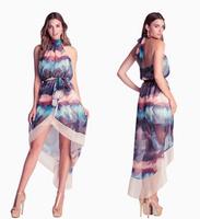 Free shipping fashion tube top halter-neck racerback waistband asymmetrical chiffon dress