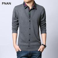 Pnan men's clothing 2014 autumn thin shirt male cardigan thin knitted sweater