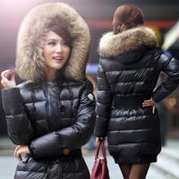Winter large fur collar medium-long slim female coat down outerwear women