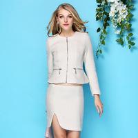 2014 fashion woolen fragrant wind short skirt set, brand women work wear suits, high quality