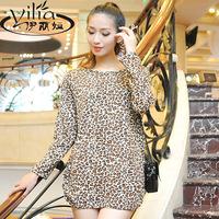2014 autumn and winter cashmere large slim leopard print basic shirt plus size clothing loose long-sleeve female t