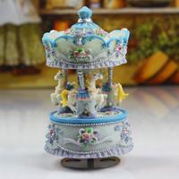 Guoshi rose carved blue music box music box christmas gift birthday gift